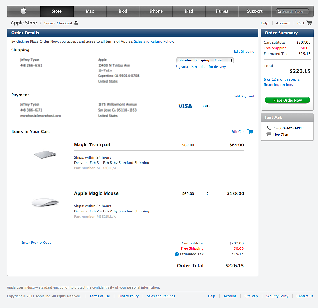Entry page of Apple Checkout Redesign